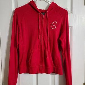 Red zip up jacket bedazzled S